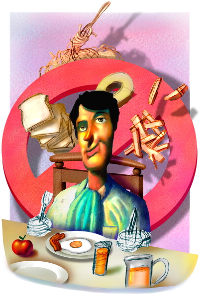 "USA - 2000: 52p x 77p Earl F. Lam III color illustration of man seated at breakfast table for a low-carbohydrate meal of egg, bacon, apple and orange juice, behind his chair is a large ""no"" symbol with breads, pasta and potatoes floating around it. (The Miami Herald/MCT via Getty Images)"
